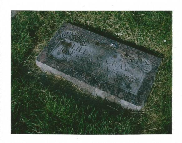 The grave of Lilly E. Gray, Victim of the Beast 666.