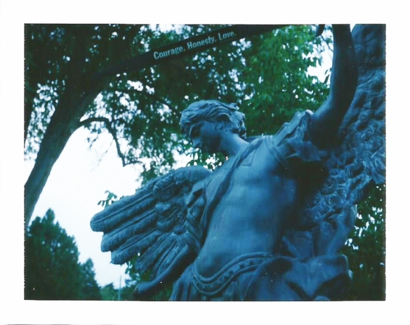 The archangel Michael keeps watch over the grave of Michael Starks.