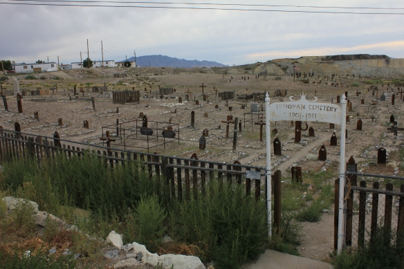 Then there's the old Tonopah Cemetery conveniently located right next door to the Clown Motel!