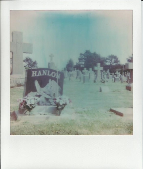 At Holy Cross Cemetery, standing where Harold was when he spotted Maude for the first time at the cemetery. -- expired Impossible film